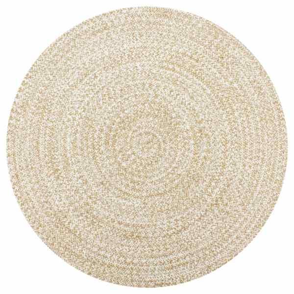 vidaXL Covor manual, alb și natural, 120 cm, iută