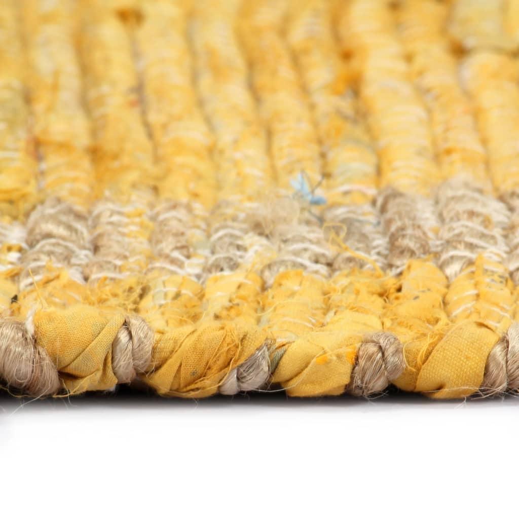 Covor manual, galben, 80 x 160 cm, iută