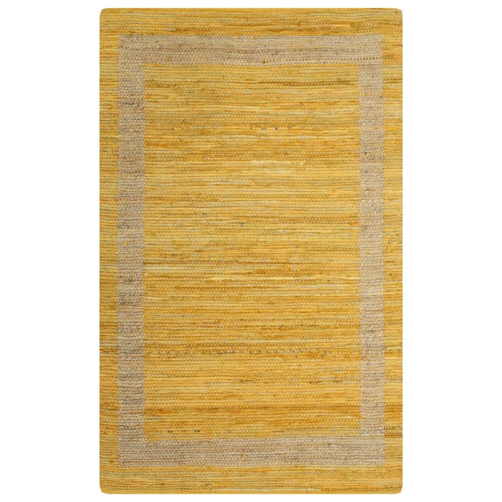 vidaXL Covor manual, galben, 120 x 180 cm, iută