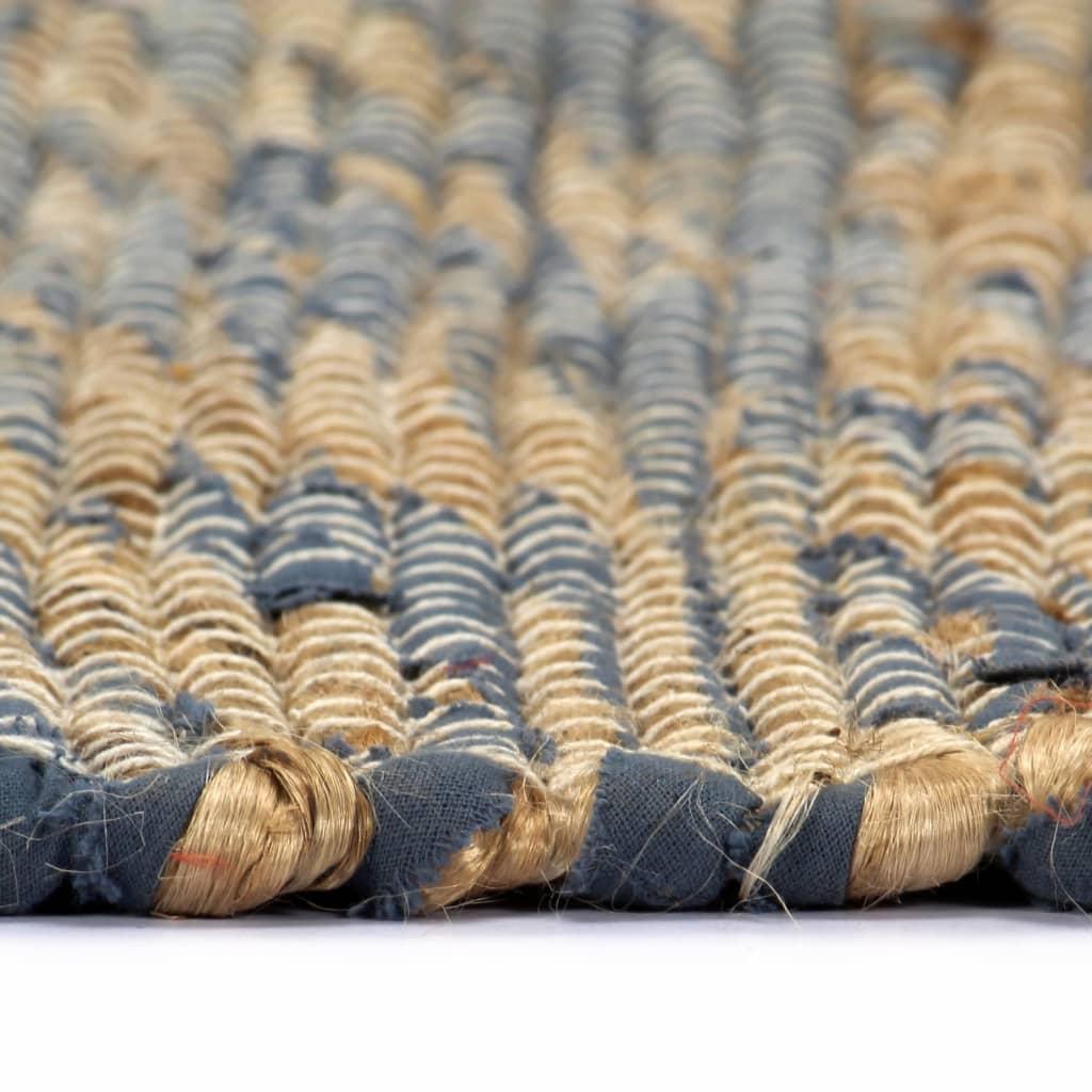 Covor manual, albastru și natural, 120 x 180 cm, iută