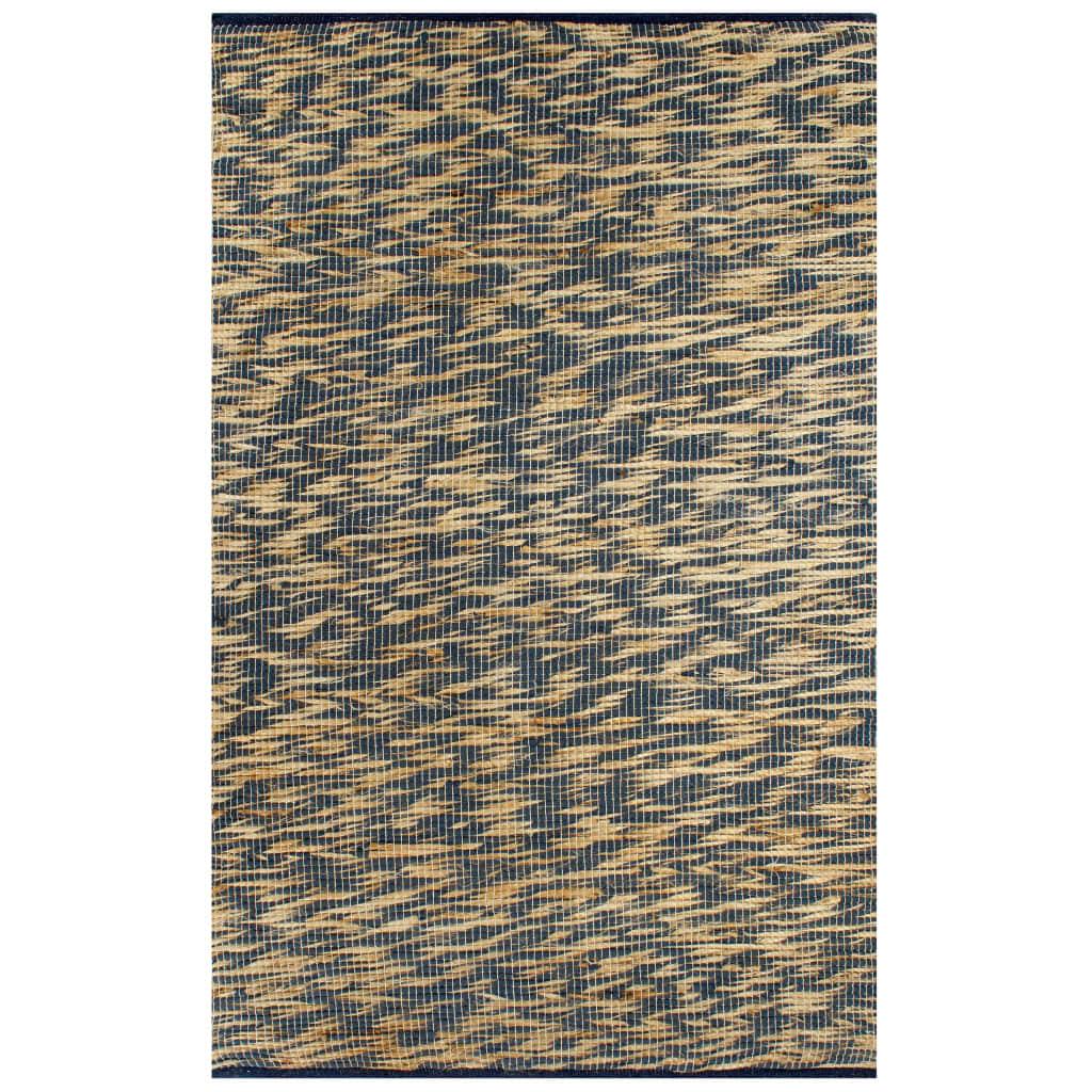 vidaXL Covor manual, albastru și natural, 160×230 cm, iută