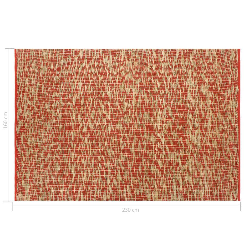 Covor manual, roșu și natural, 160×230 cm, iută