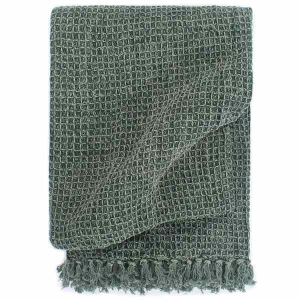 vidaXL Pătură decorativă, verde închis, 125 x 150 cm, bumbac