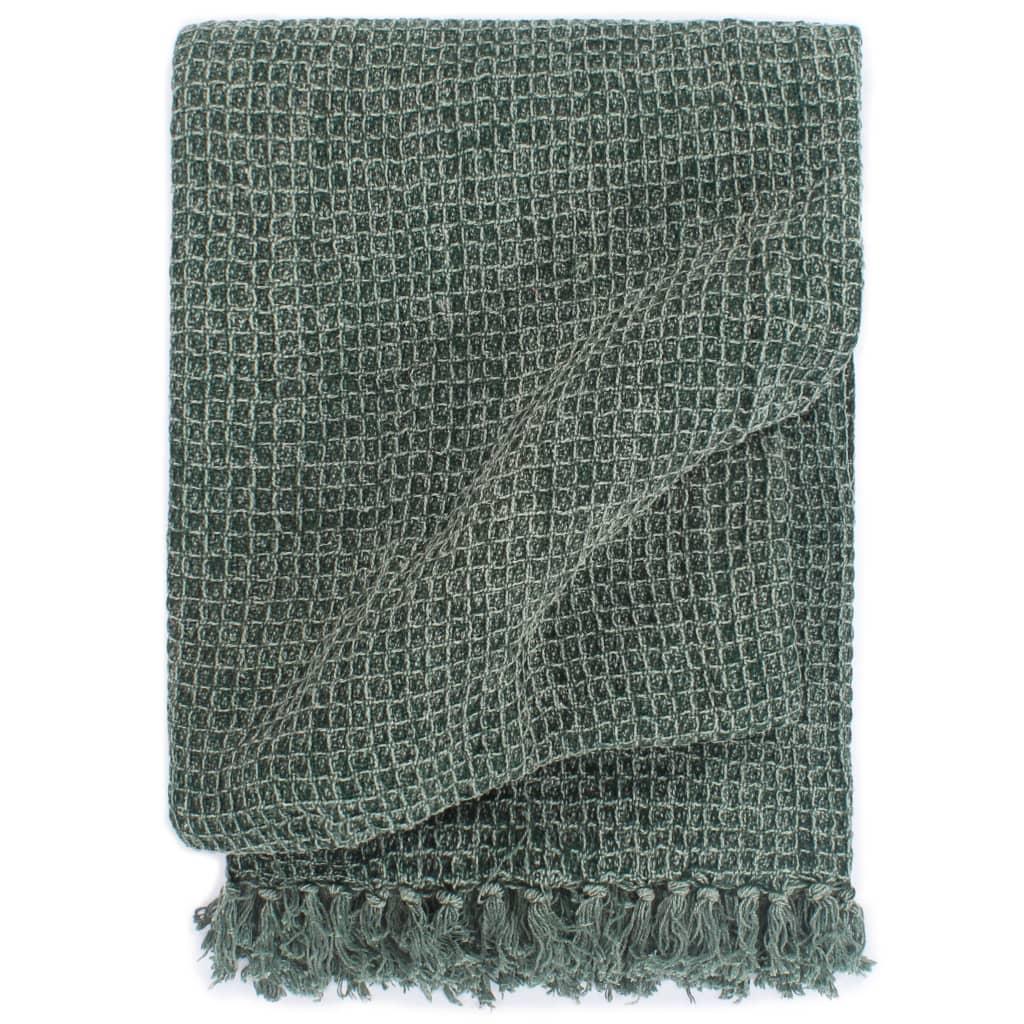 vidaXL Pătură decorativă, verde închis, 220 x 250 cm, bumbac