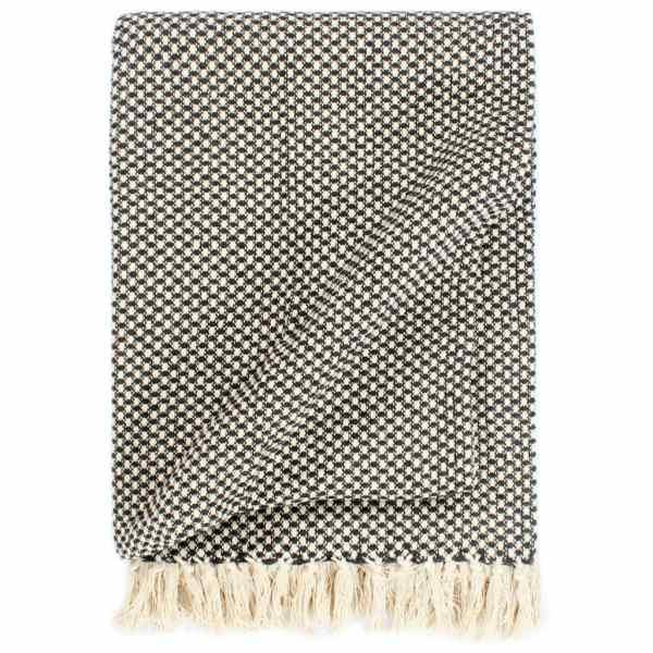 vidaXL Pătură decorativă, antracit, 125 x 150 cm, bumbac