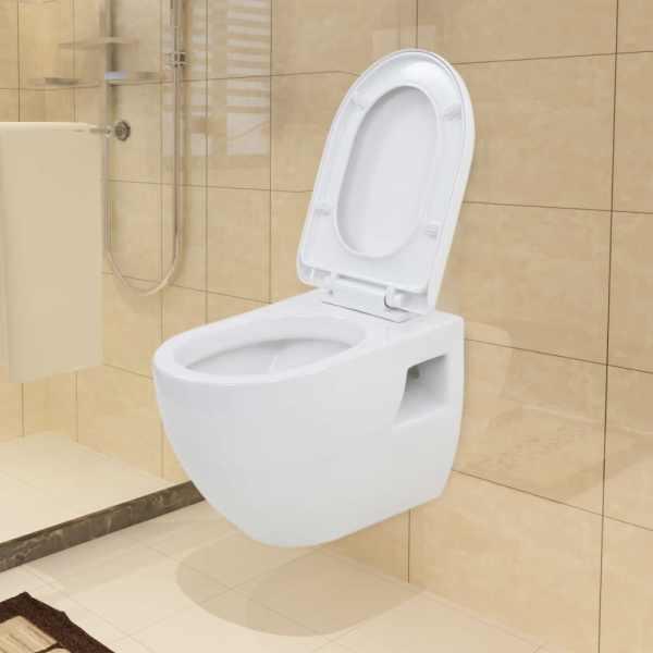 vidaXL Toaletă suspendată cu rezervor WC ascuns, alb, ceramică