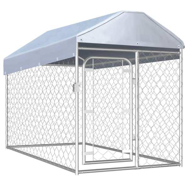 vidaXL Padoc pentru câini de exterior cu acoperiș, 200 x 100 x 125 cm