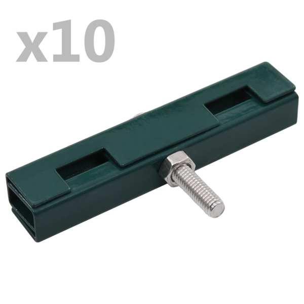 vidaXL Conector în formă de U grilaj grădină, 10 seturi, verde
