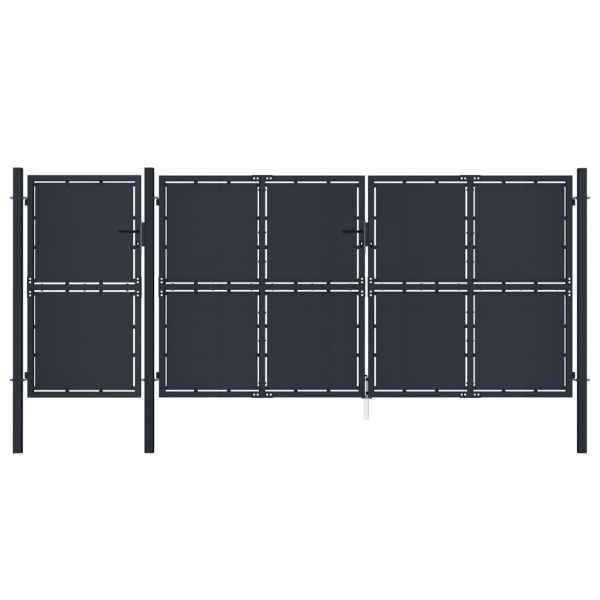 vidaXL Poartă de grădină, antracit, 4 x 2,5 m, metal