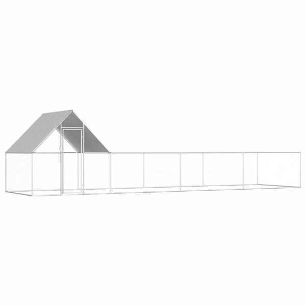 vidaXL Coteț de găini, 8 x 2 x 2 m, oțel galvanizat