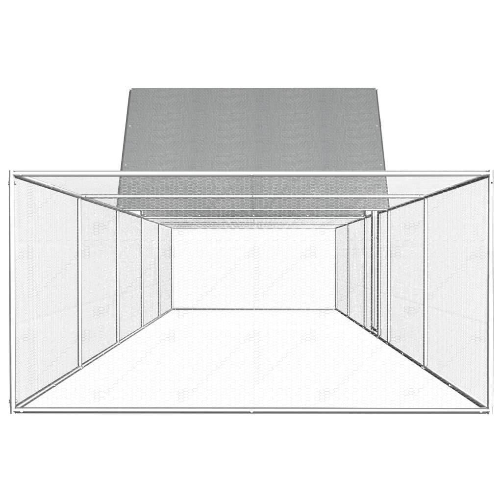 vidaXL Coteț de găini, 10 x 2 x 2 m, oțel galvanizat