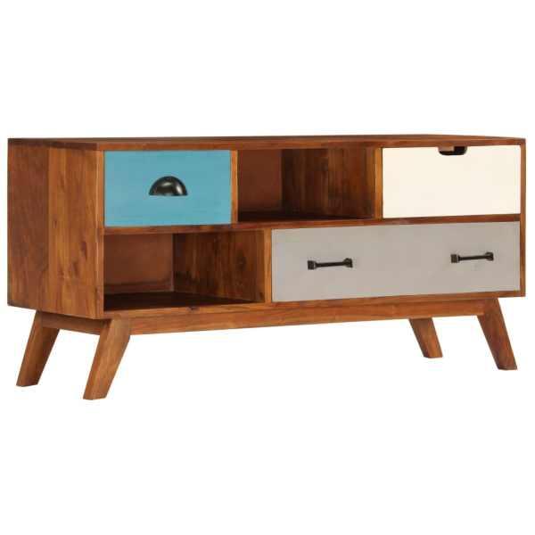 vidaXL Comodă TV cu 3 sertare, 110x35x50 cm, lemn masiv acacia