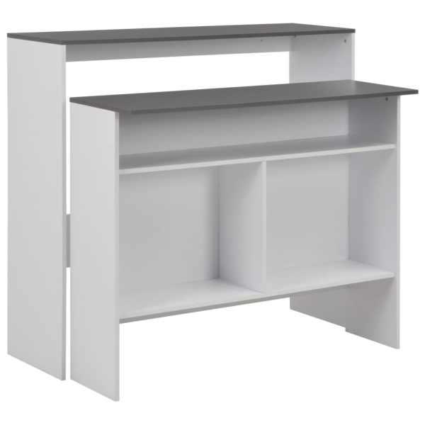 vidaXL Masă de bar cu 2 blaturi, alb și gri, 130x40x120 cm