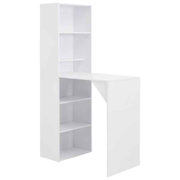 vidaXL Masă de bar cu dulap, alb, 115 x 59 x 200 cm