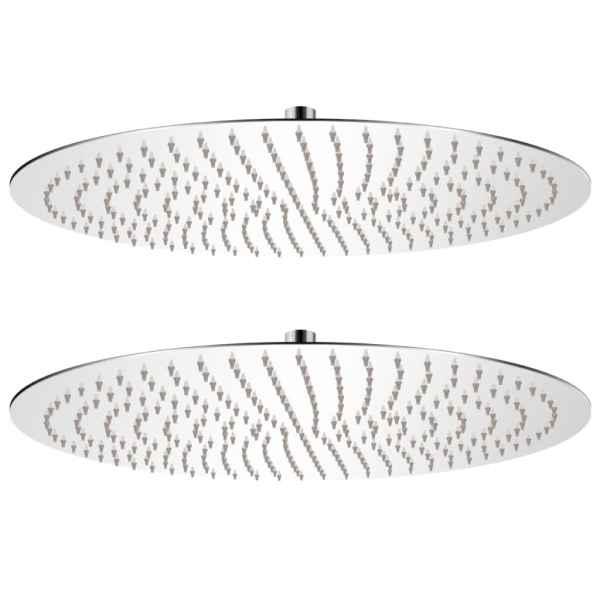 vidaXL Cap de duș tip ploaie, 2 buc., Ø 50 cm, oțel inoxidabil