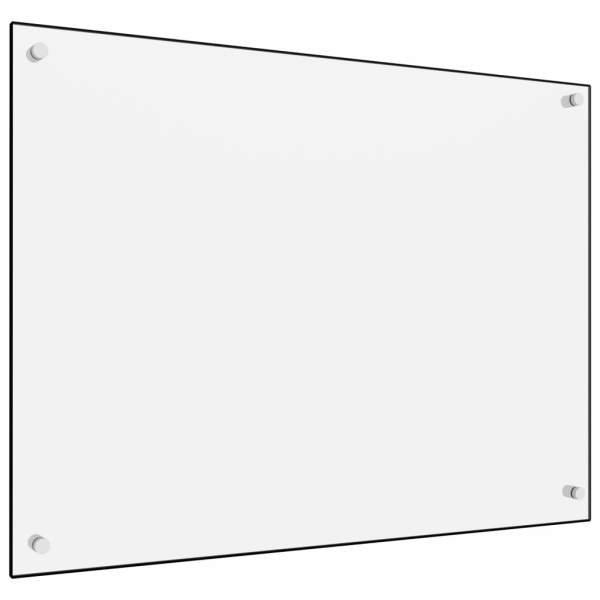 Panou antistropi bucătărie, alb, 80×60 cm, sticlă securizată