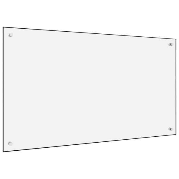 Panou antistropi bucătărie, alb, 100×60 cm, sticlă securizată