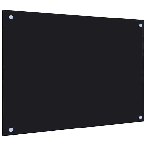 Panou antistropi bucătărie, negru, 70×50 cm, sticlă securizată