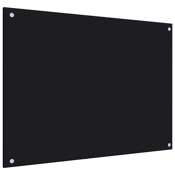 vidaXL Panou antistropi bucătărie, negru, 80×60 cm, sticlă securizată