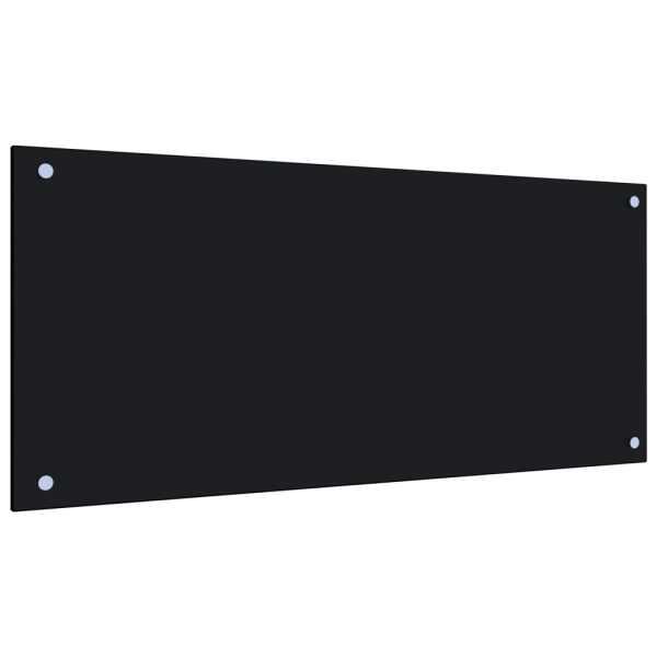 Panou antistropi bucătărie, negru, 90×40 cm, sticlă securizată