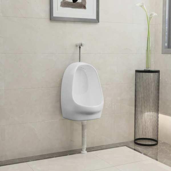 vidaXL Pisoar de perete cu supapă pentru spălare, alb, ceramică
