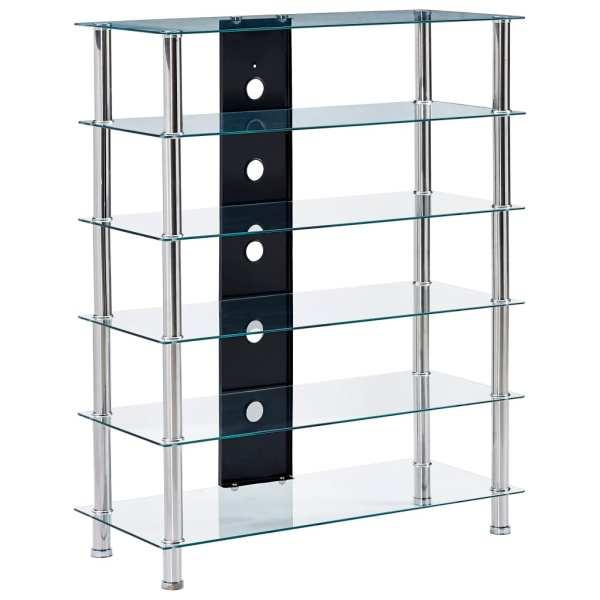 vidaXL Comodă HiFi, transparent, 90 x 40 x 113 cm, sticlă securizată