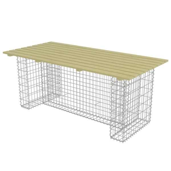 vidaXL Masă de grădină cu gabion din oțel, 180x90x74 cm lemn pin