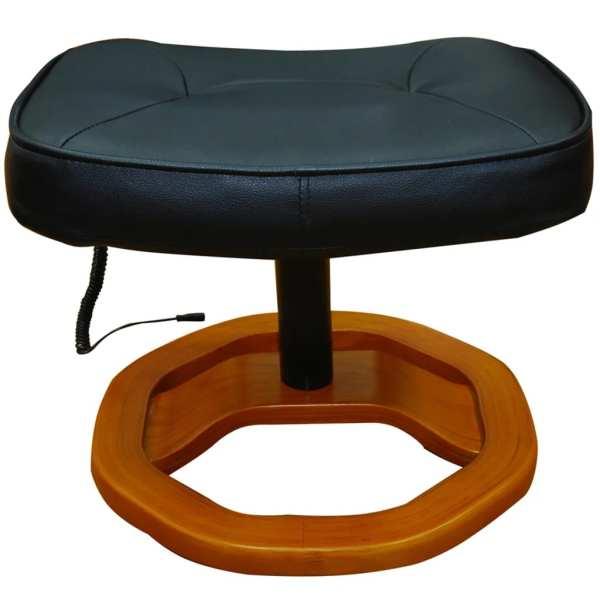 Fotoliu de masaj cu taburet, negru, piele ecologică
