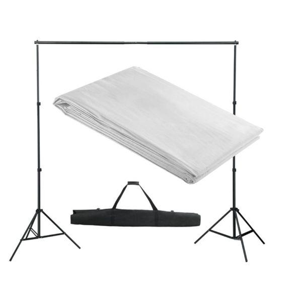 vidaXL Sistem de suport fundal, 300 x 300 cm, alb