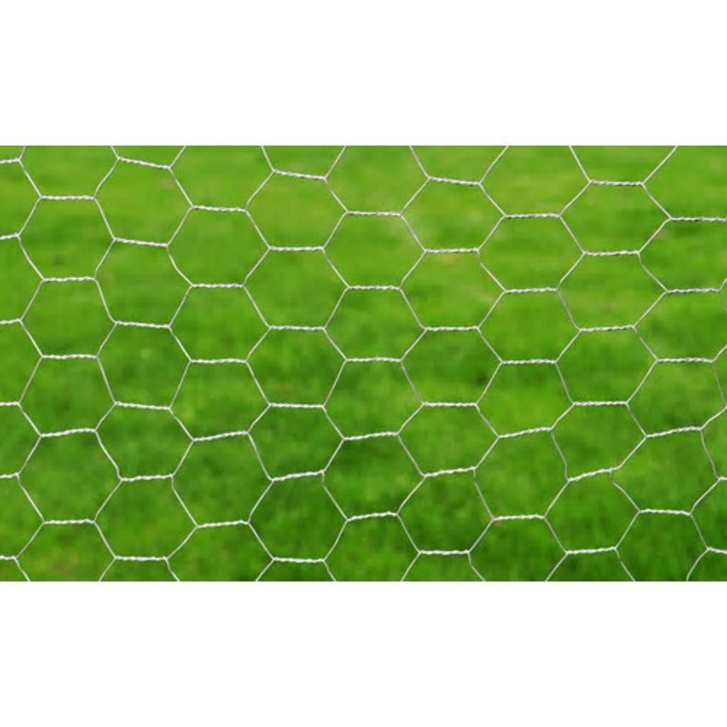 Gard de plasă, argintiu, 1 x 25 m, oțel galvanizat, hexagon