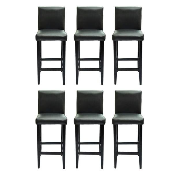vidaXL Scaune de bar, 6 buc., negru, piele ecologică