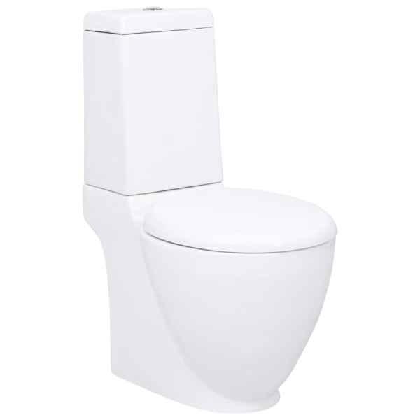 vidaXL Toaletă, alb, ceramică, flux de apă în spate