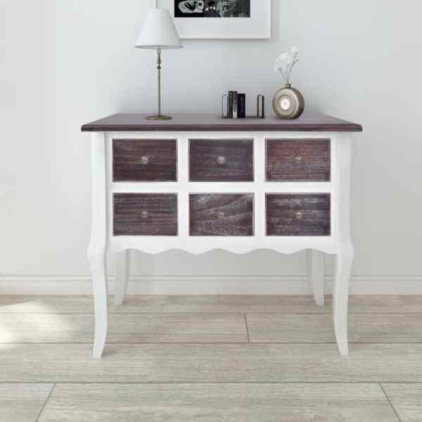 vidaXL Dulap consolă cu 6 sertare, maro și alb, lemn