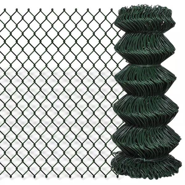 vidaXL Gard de legătură din plasă, verde, 0,8 x 15 m, oțel