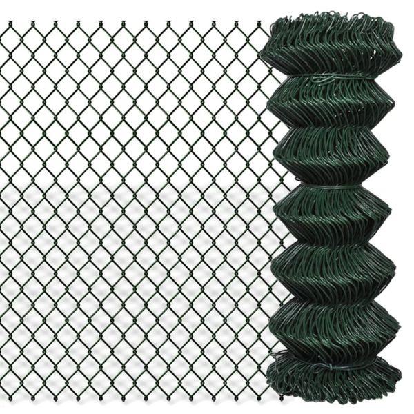 vidaXL Gard de legătură din plasă, verde, 1 x 15 m, oțel