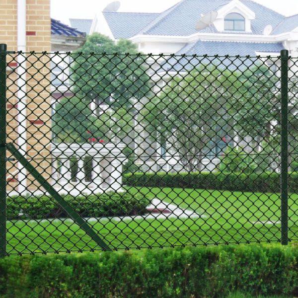 vidaXL Gard de legătură din plasă cu stâlpi, verde, 0,8 x 15 m, oțel