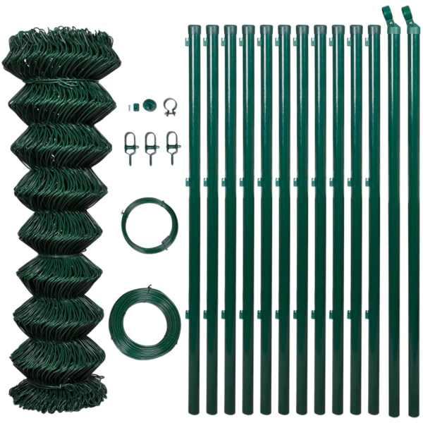 Gard din plasă cu stâlpi, verde, 1,5 x 15 m, oțel