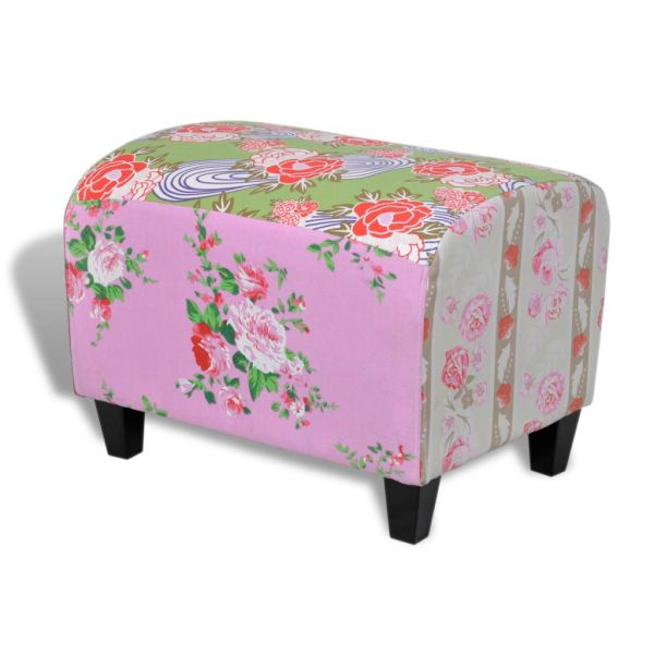 Taburet patchwork cu model floral