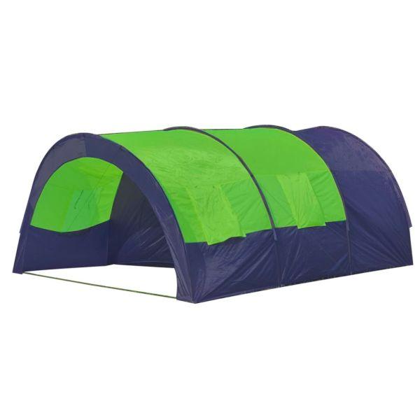 Cort camping din material textil, 6 persoane, albastru și verde
