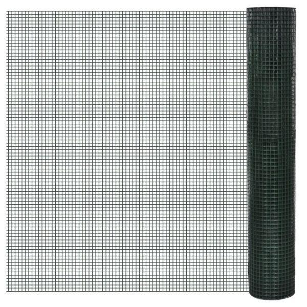 vidaXL Plasă de sârmă găini, verde, 10 x 1 m, oțel galvanizat cu PVC