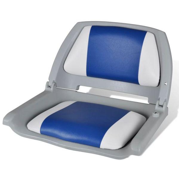 Scaun barcă cu spătar pliabil cu pernă albastru-alb 41 x 51 x 48 cm
