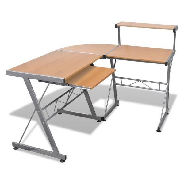 Birou computer cu poliță glisantă + suprafață pentru scris, Maro
