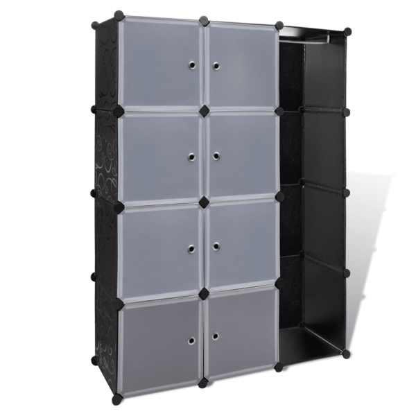 Dulap modular cu 9 compartimente, 37x115x150 cm, negru și alb