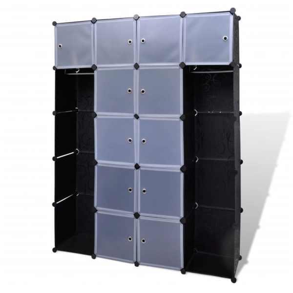 Dulap modular 14 compartimente alb și negru 37 x 146 x 180,5 cm