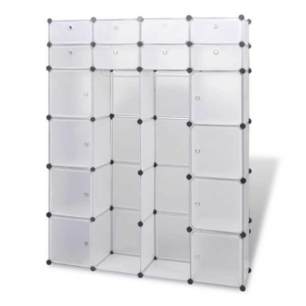 Dulap modular cu 18 compartimente alb 37 x 146 x 180,5 cm