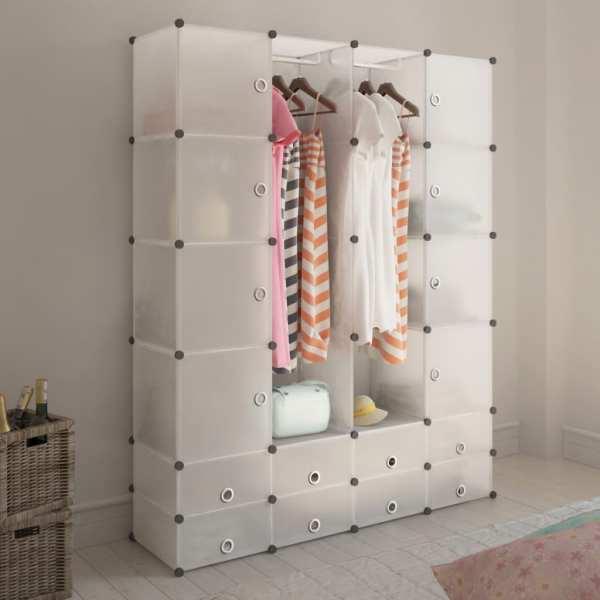 vidaXL Dulap modular cu 18 compartimente alb 37 x 146 x 180,5 cm