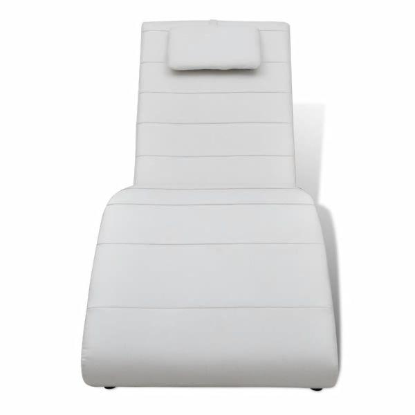 vidaXL Șezlong cu pernă, alb, piele ecologică