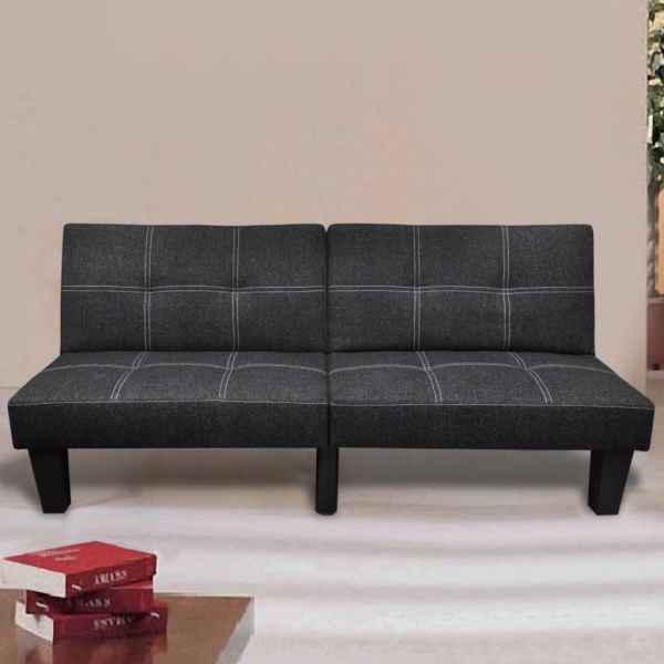 vidaXL Canapea extensibilă, material textil, reglabil, negru