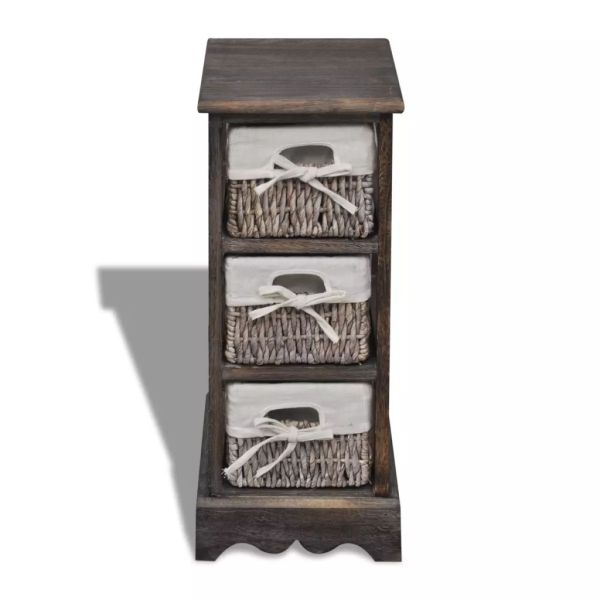 Dulap de depozitare din lemn, 3 coșuri împletite, maro