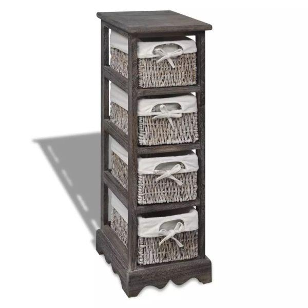 vidaXL Dulap de depozitare din lemn, 4 coșuri împletite, maro